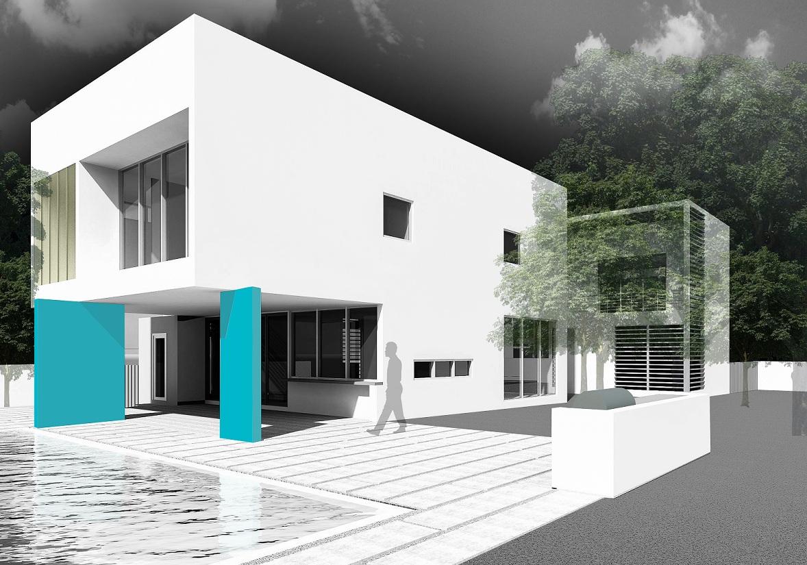 The Setting Homes Indigo House Miami Florida Exterior Render Rear Pool TARIS Real Estate
