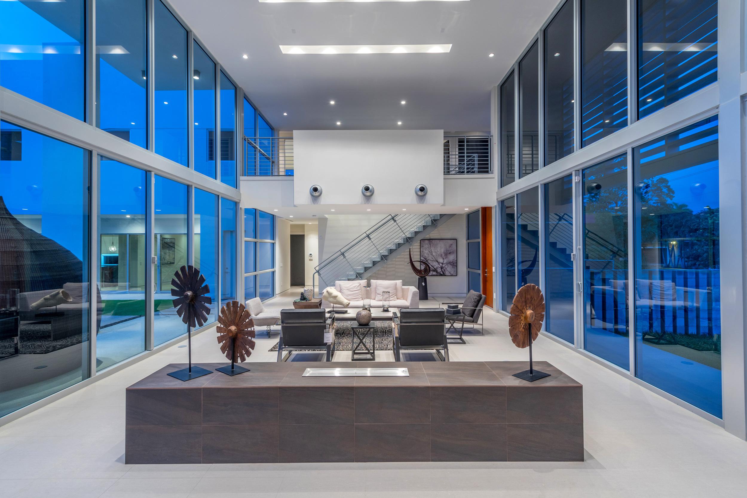 The Setting Homes Plum House Miami Florida Interior Living Room Night TARIS Real Estate