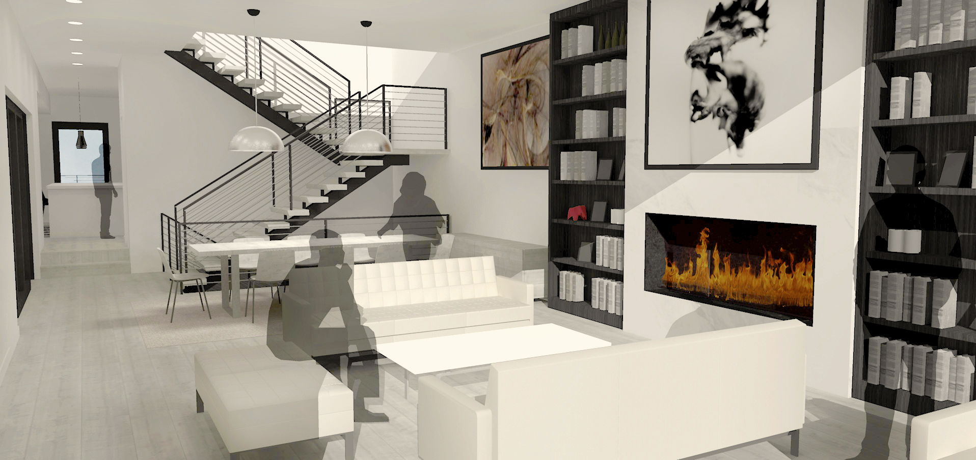1860 North Maud Chicago Interior Render Living Room TARIS Real Estate