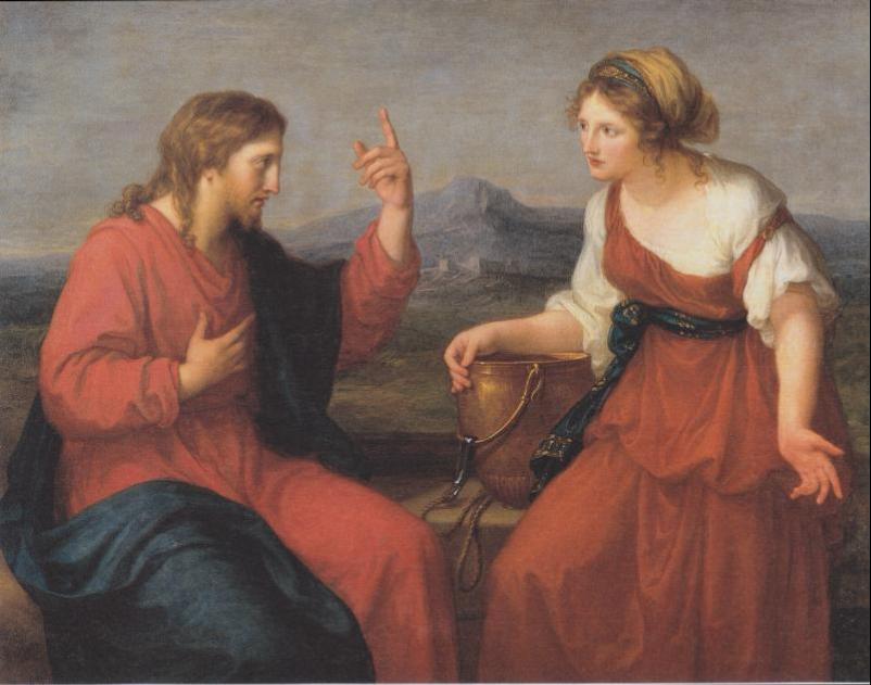 """Christ and the Samaritan woman at the well ""by Angelica Maria Anna Catharina Kauffmann (1796)"
