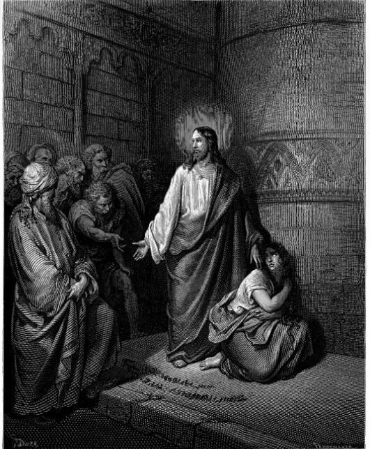 """""""Jesus and the Woman Caught in Adultery""""by Gustave Dore"""
