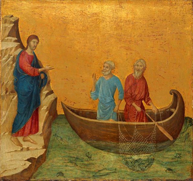 """""""Jesus calling Simon Petrus and Andreas""""byDuccio di Buoninsegna, 1308-1311"""