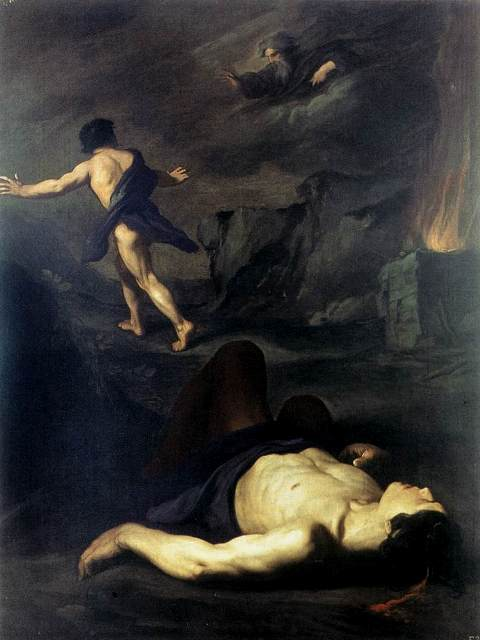 """""""Cain Murders Abel"""" by Pietro Novelli (1603-1647)"""