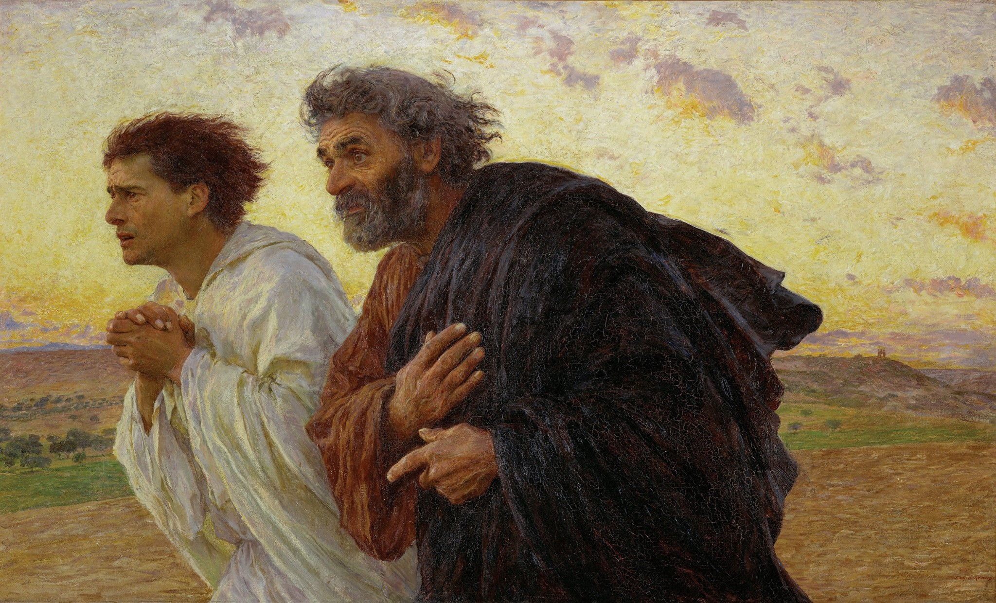 """""""The Disciples Peter and John Running to the Sepulchre on the Morning of the Resurrection"""" by Eugene Burnand (1898)"""