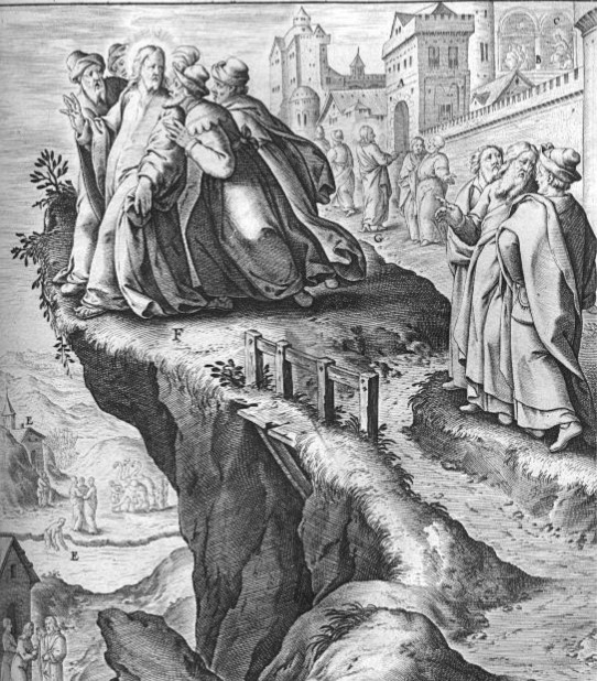 """""""Jesus is rejected in his hometown"""" from   Illustrations of the Gospel Stories (16th Century)"""