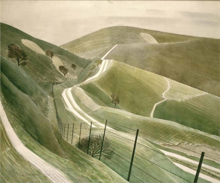 """Chalk Paths , by Eric Ravilious (1935) Psalm 25:3 """"Show me your way, O Lord, and teach me your paths"""""""