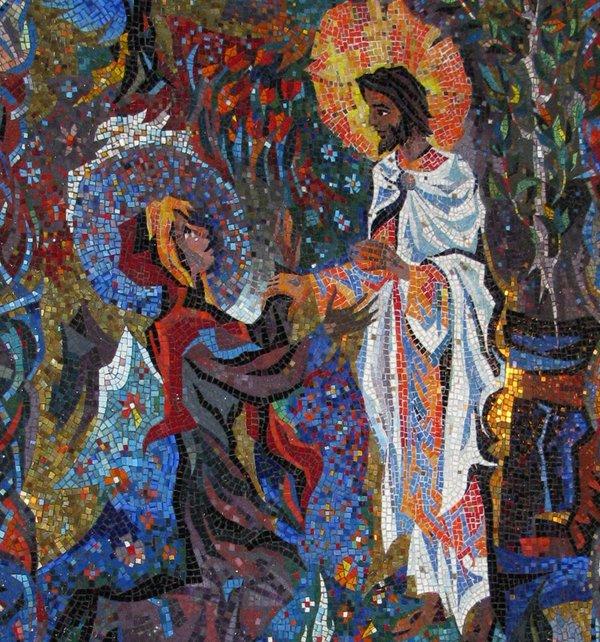 Mary Magdalene and Jesus  Resurrection Chapel at the Washington National                Cathedral
