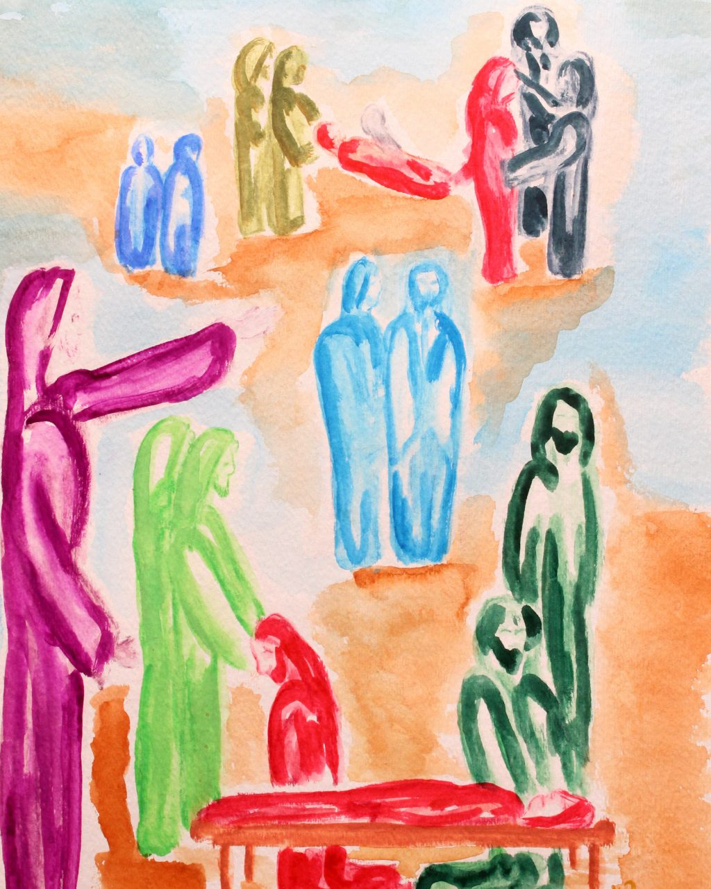 Jesus Sends Out the Apostles, by Raquel Lushenko