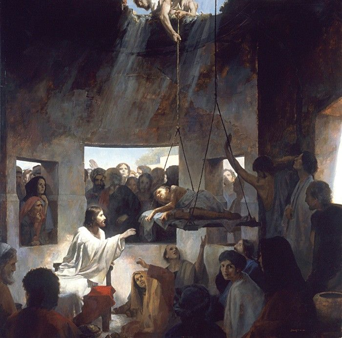 Christ and the Palsied Man by J. Kirk Richards