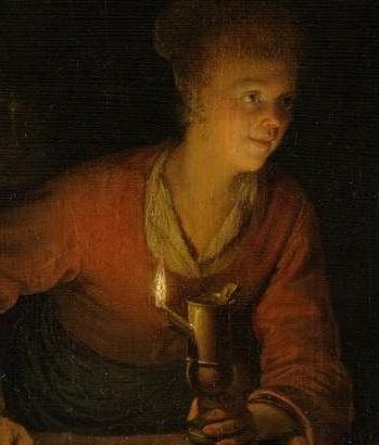 Girl With Burnng Oil Lamp  By Gerrit Dou