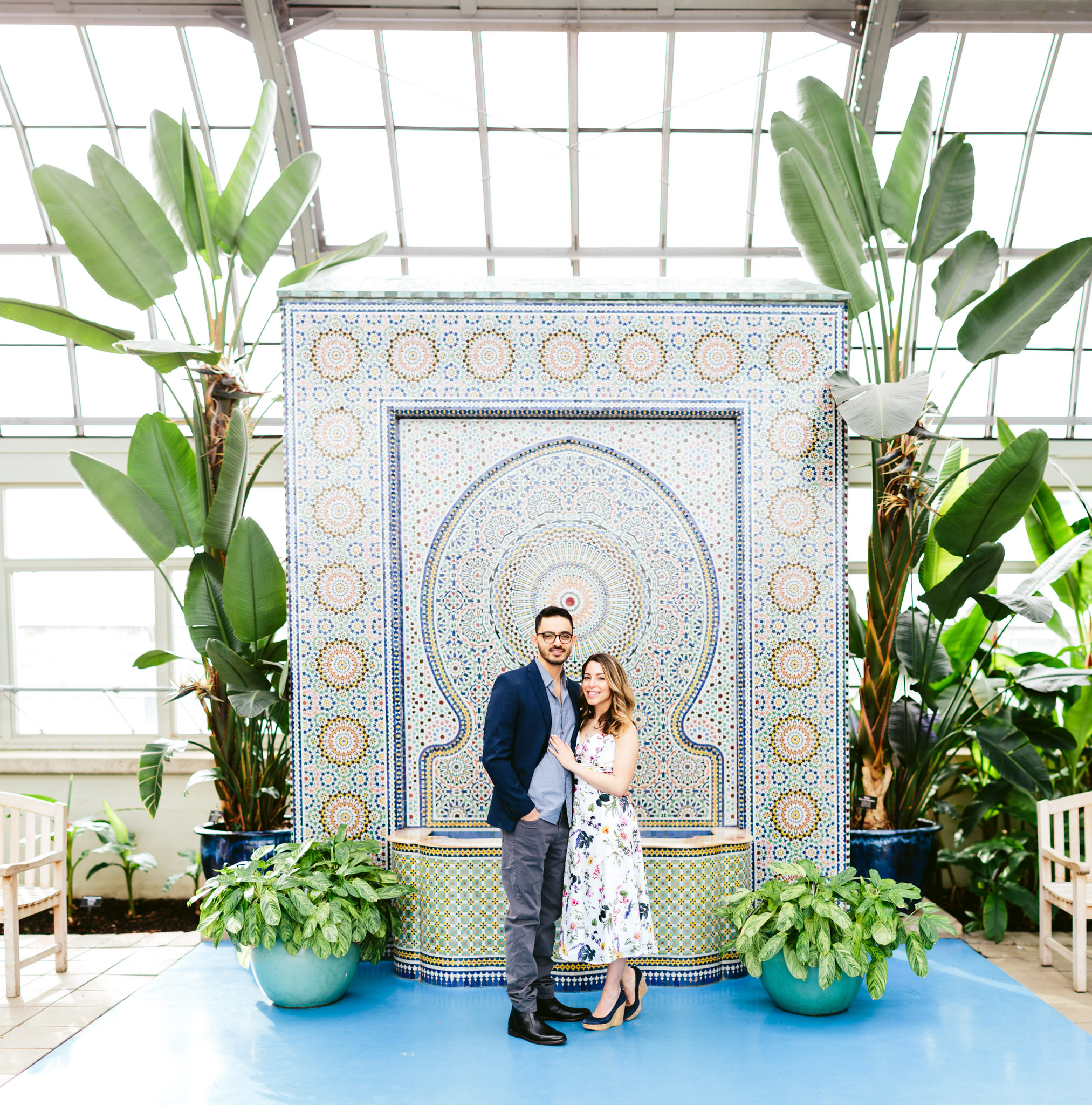 Garfield Park Conservatory Wedding.Dana Yahai Chicago Engagement Session At Garfield Park