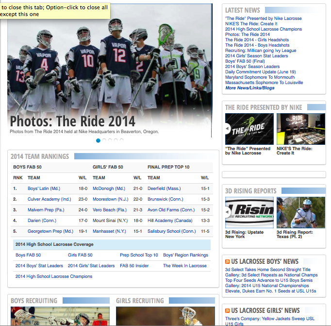 The front page of StudentSportsLacrosse.com.