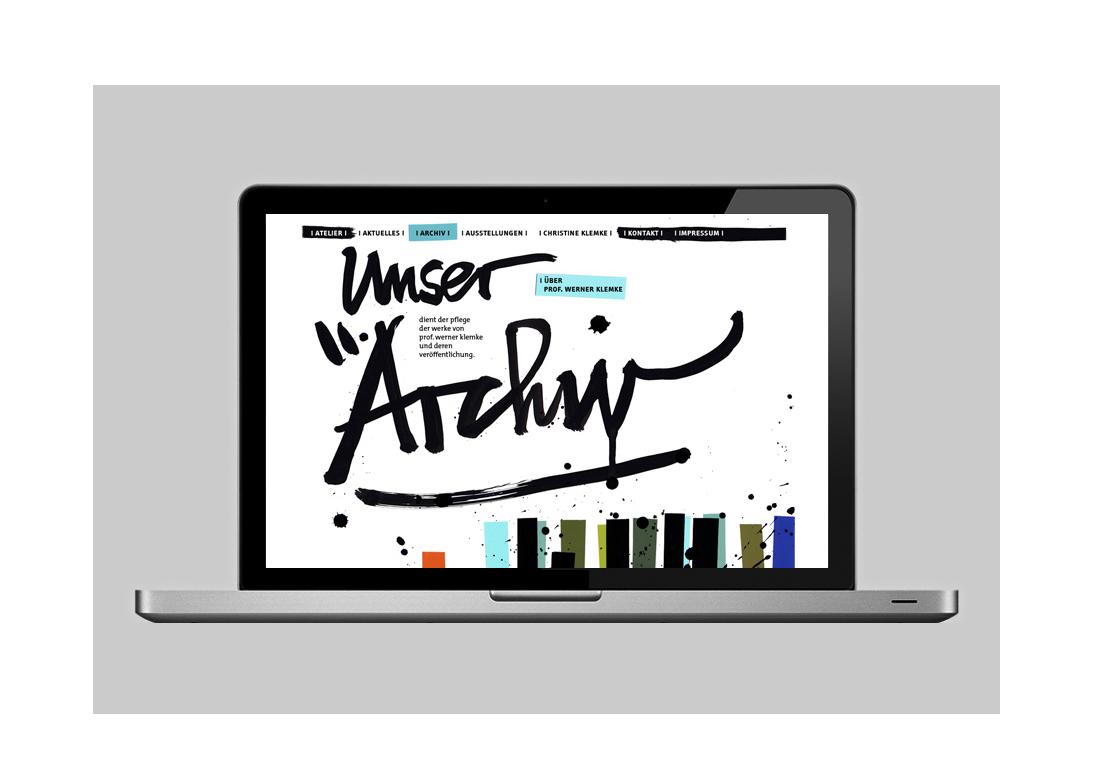 "calligraphy & illustration & website concept of the website of ""Atelier & Archiv Professor Werner Klemke"" (2010)"