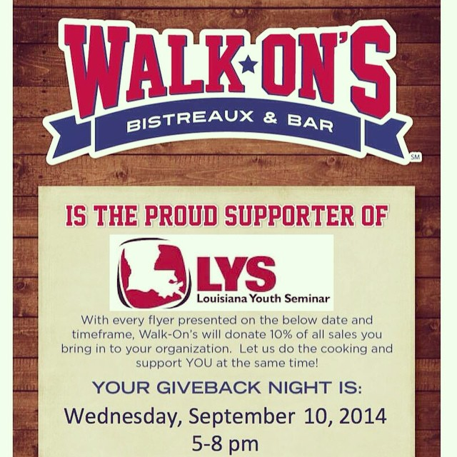 We can't wait for the LYS Walk On's night this Wednesday night in Baton Rouge from 5-8pm! Will you be there?