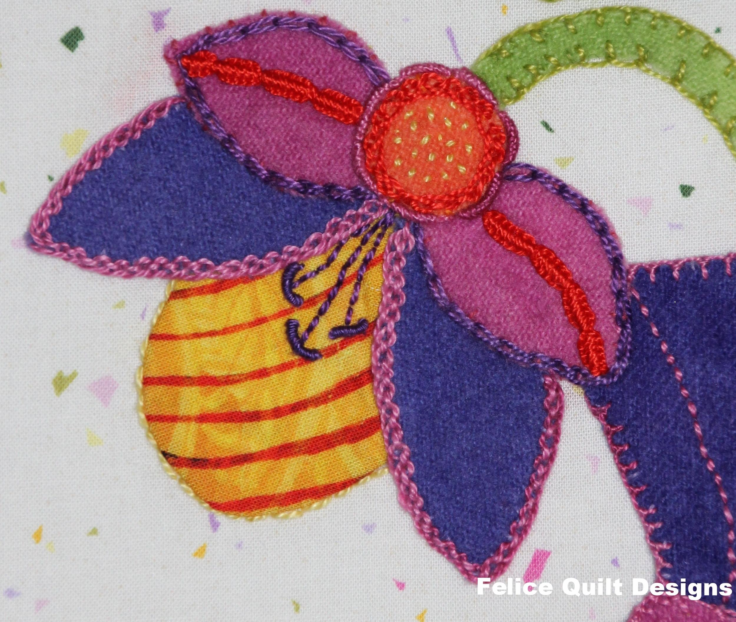 Vase of Beauties detail- Felice Quilt Designs