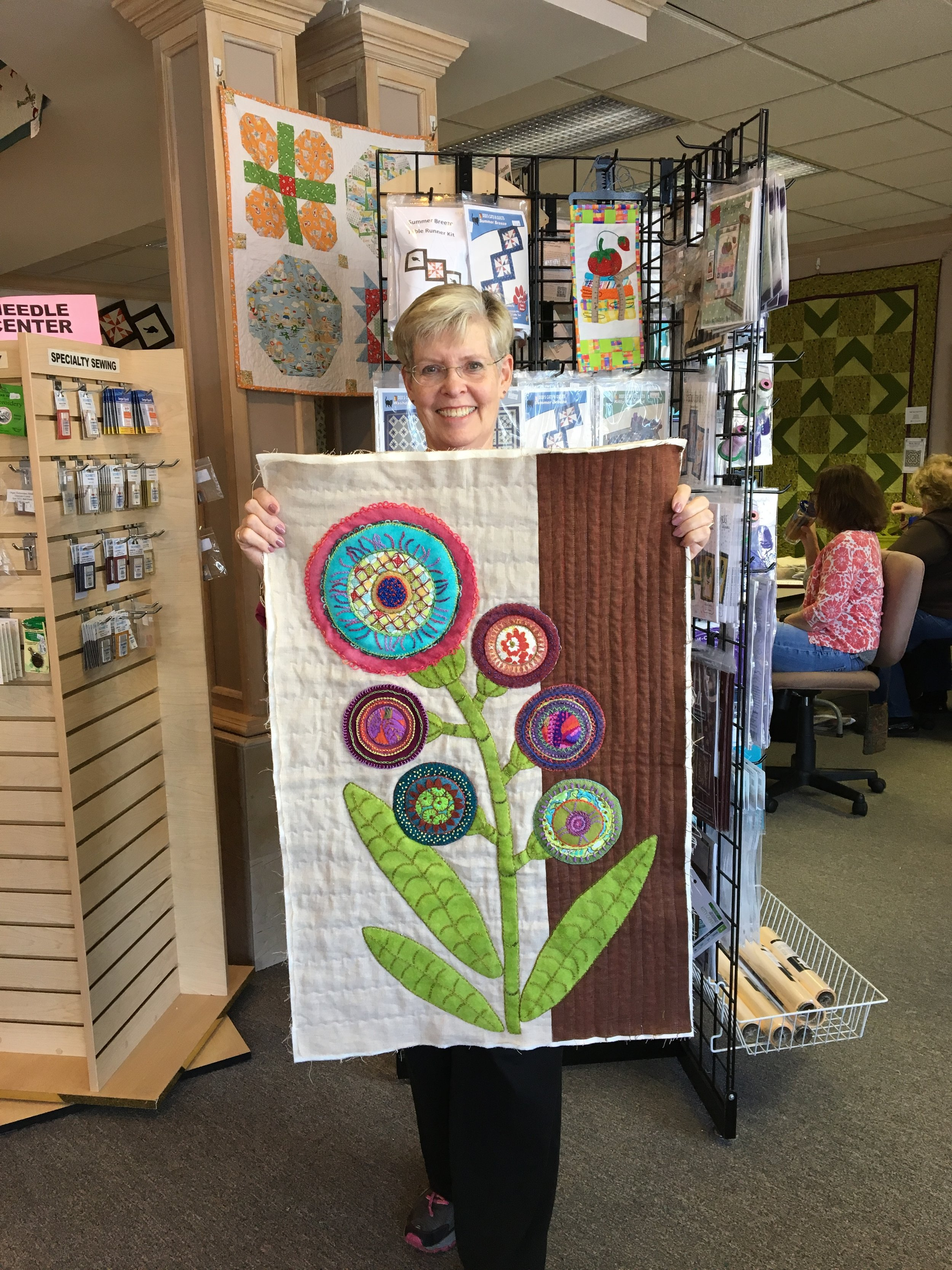Susan at the Modern Sampler Class at Anna's in FairviewPark, Ohio