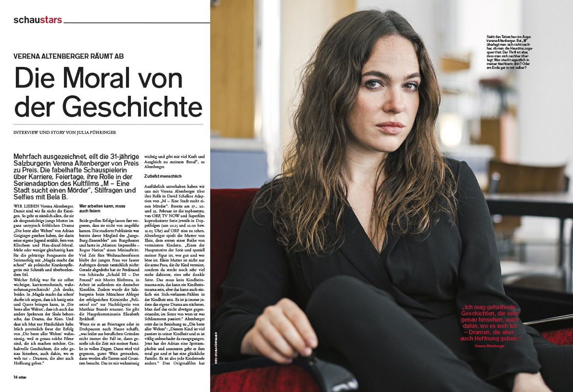 Verena Altenberger in Schau Magazin 2/2019