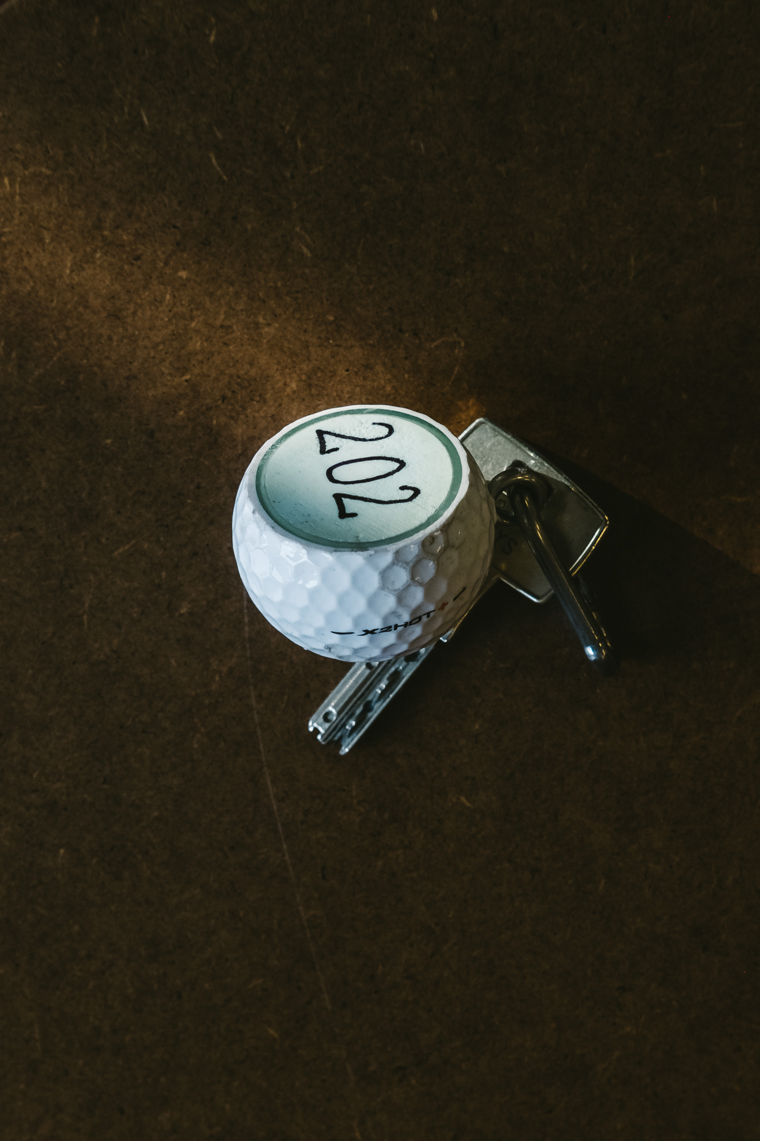 magdas Hotel in Vienna, Austria. Room key with attachment (sliced golf ball)