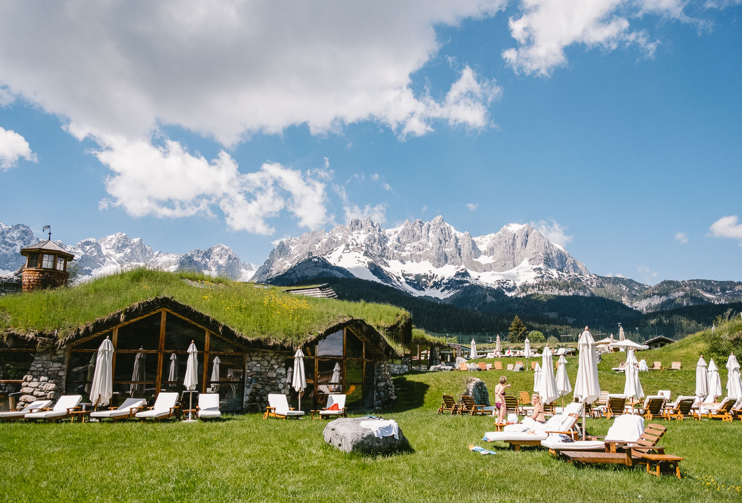 Outdoor spa and pools with Wilder Kaiser mountin panorama in the background at Hotel Stanglewirt in Going near Kitzbuehel in Tyrol, Austria. CREDIT: Stefan Fuertbauer  for The Wall Street JournalKitzbuehel Scenesetters