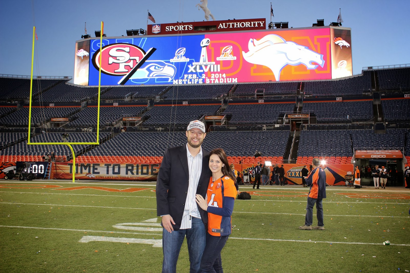 Jacob and Allison after the 2014 AFC Championship Game.