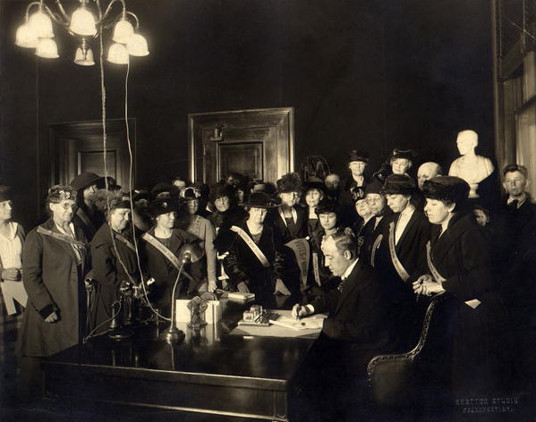 """KY Governor Edwin P. Morrow signing the Anthony Amendment,"" 1920. Prints and Photographs Division, Library of Congress. Reproduction Number LC-USZ62-78691."