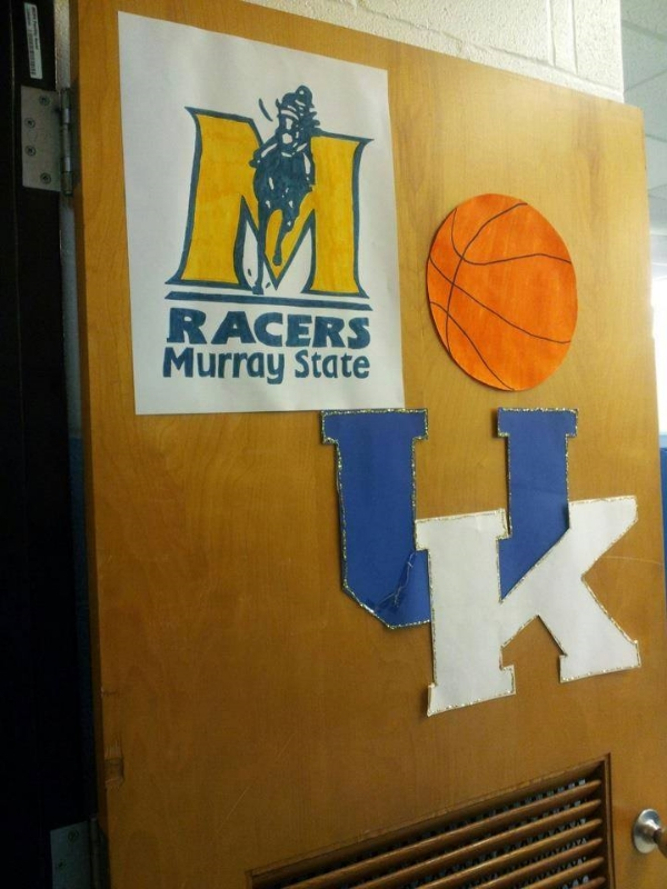 Repping the Wildcats and the Racers on the classroom door.