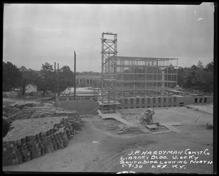 Construction of the M.I. King Library on UK's campus, 1930, via  University of Kentucky .