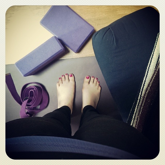 My beautiful yoga mat along with the studio props.