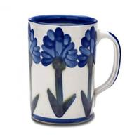 Bachelor Button Coffee Mug   Louisville Stoneware   HerKentucky.com