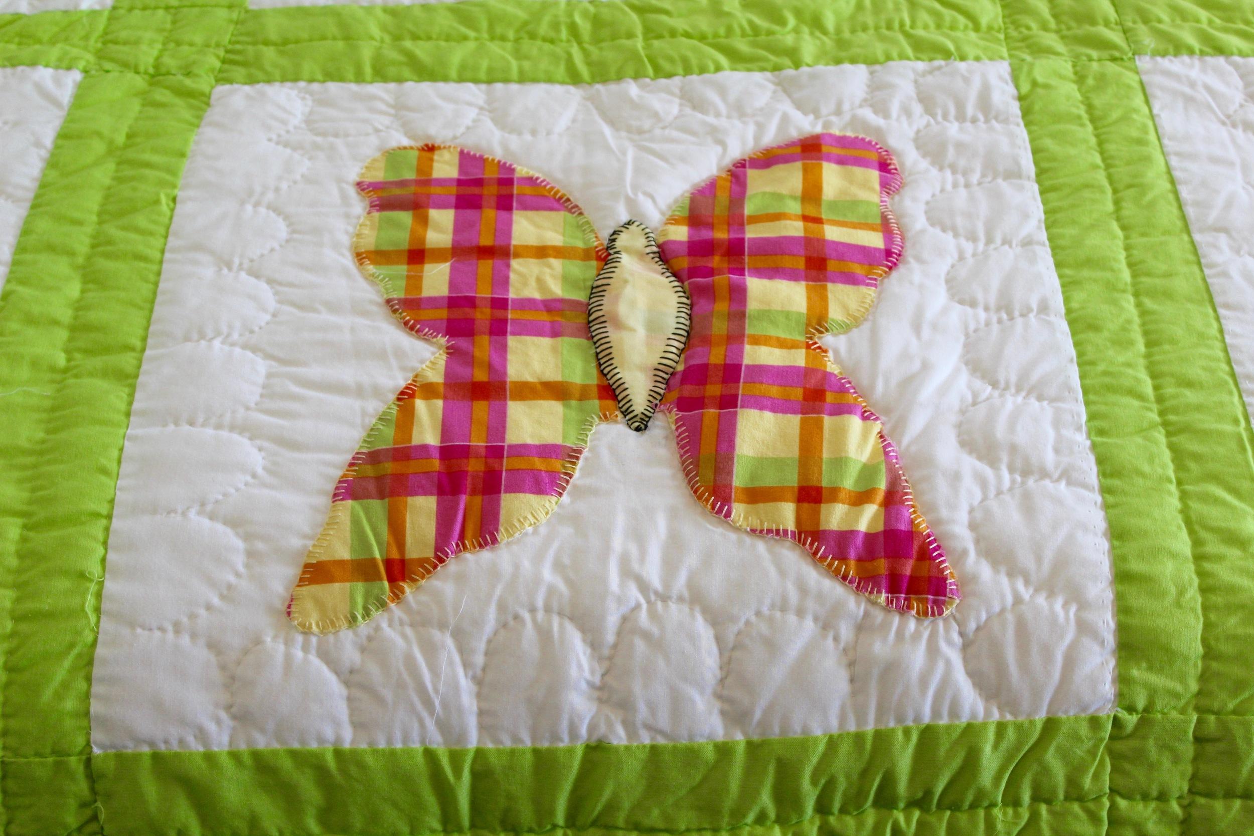 Pink and green plaid butterfly quilt | HerKentucky.com