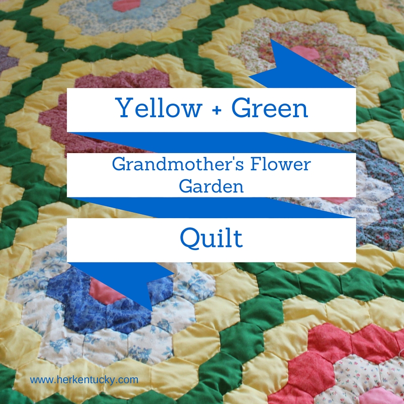 Yellow + Green Grandmother's Flower Garden Quilt | HerKentucky.com