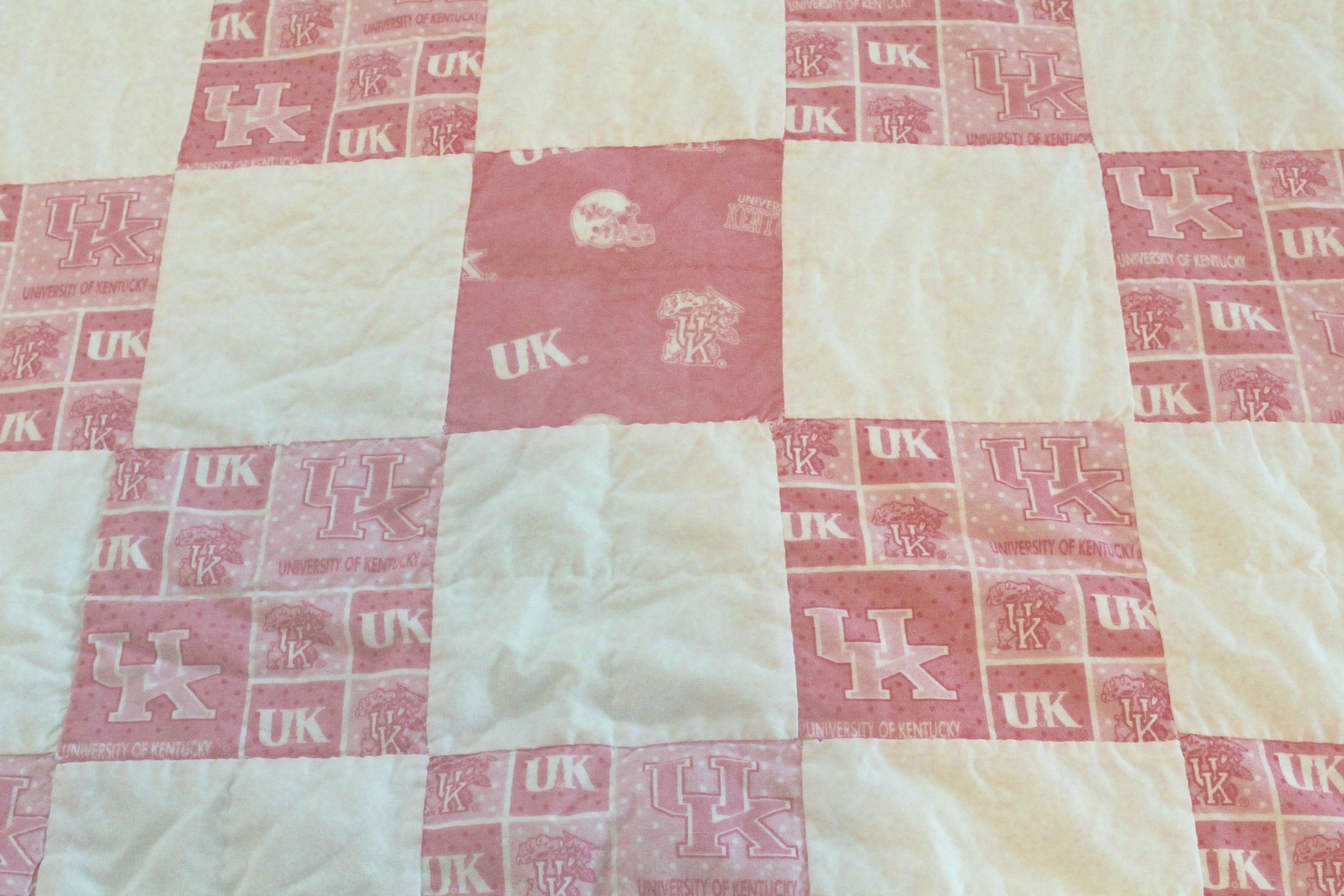 Pink and White Kentucky Football Quilt