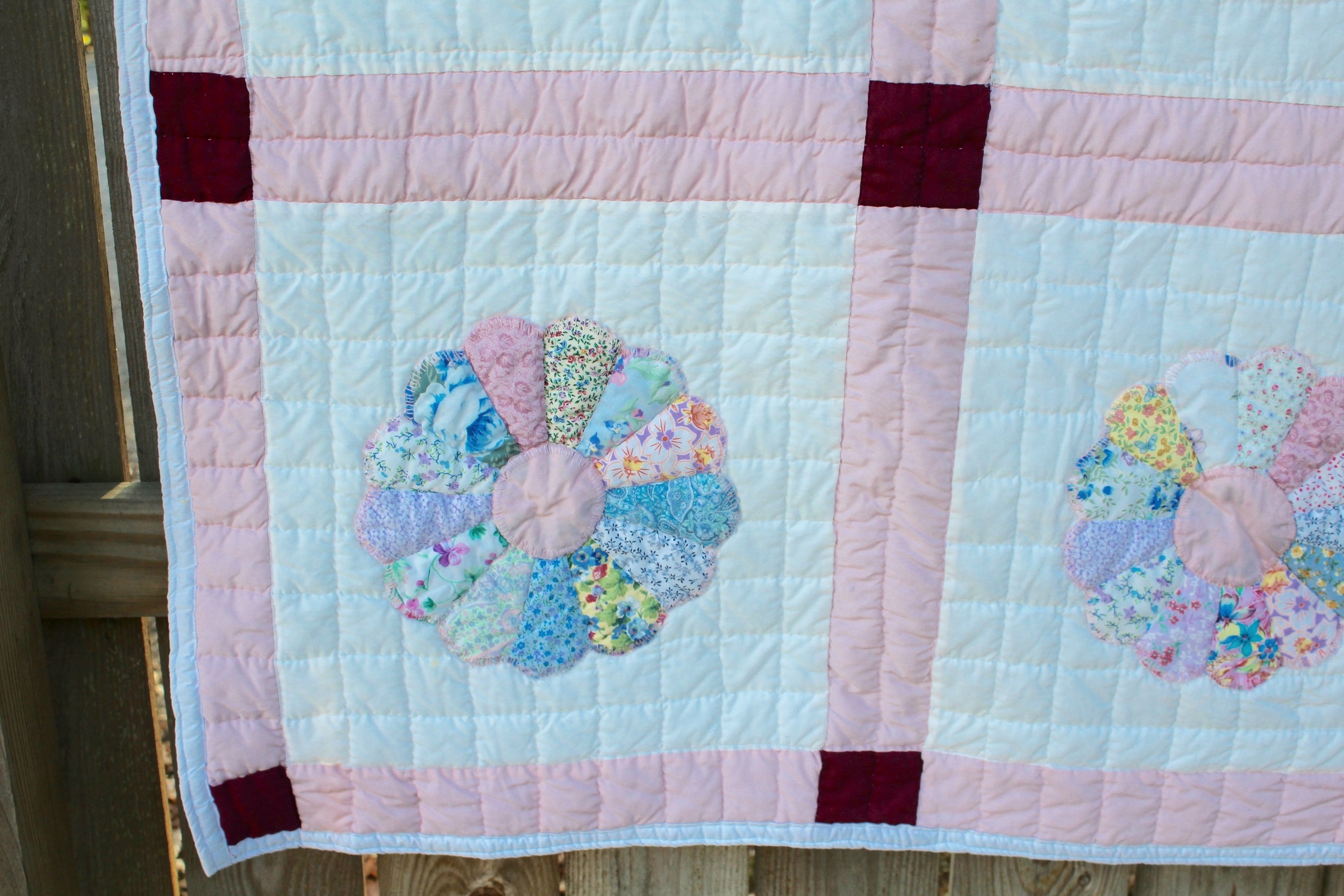 Pink and White Dresden Plate Quilt