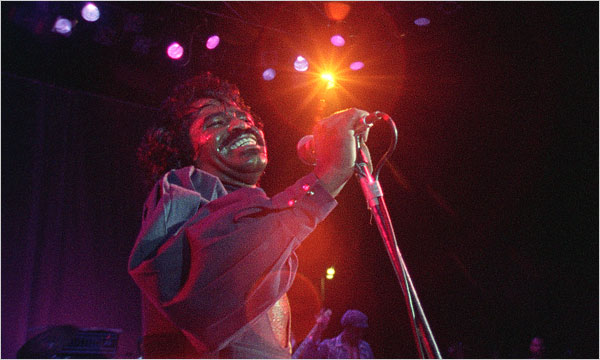 James Brown in a still from the documentary Soul Power,  via the New York Times .