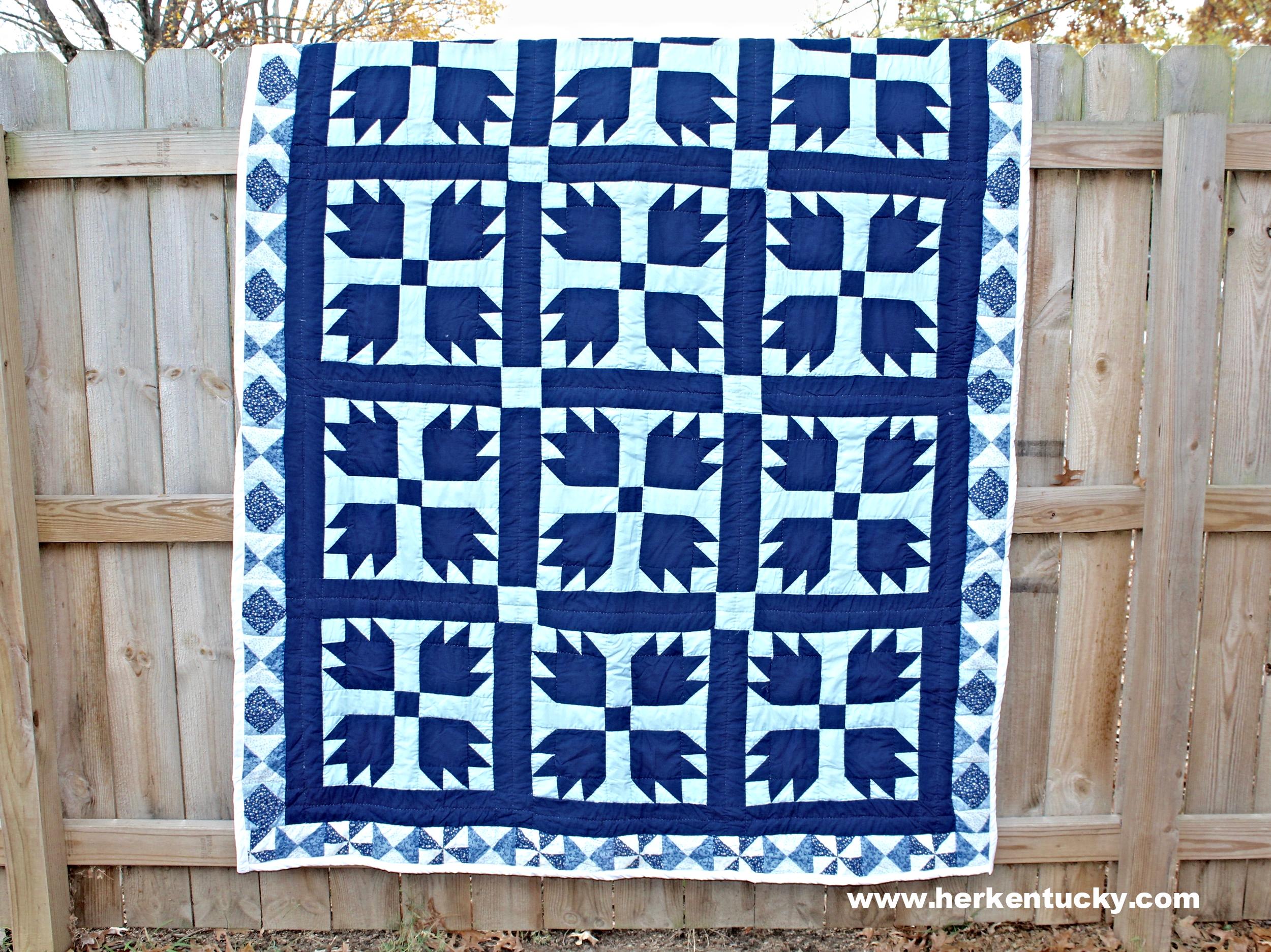 Blue + Navy Bear Paw Quilt | HerKentucky.com