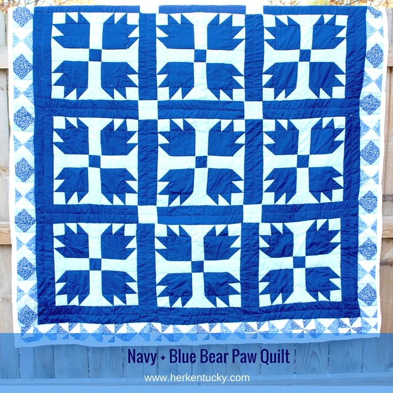Navy + Blue Bear Paw Quilt | HerKentucky.com