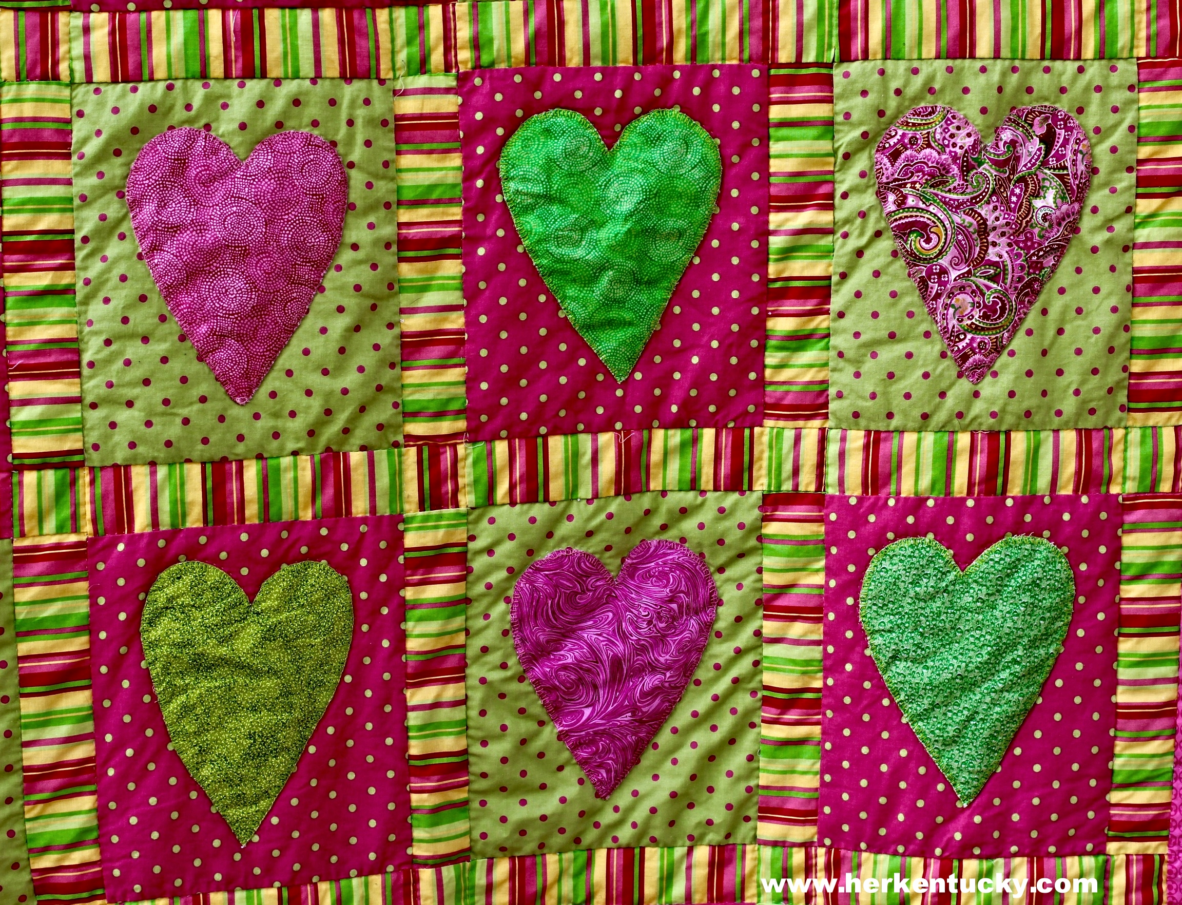 Pink + Green Hearts + Polka Dots Quilt