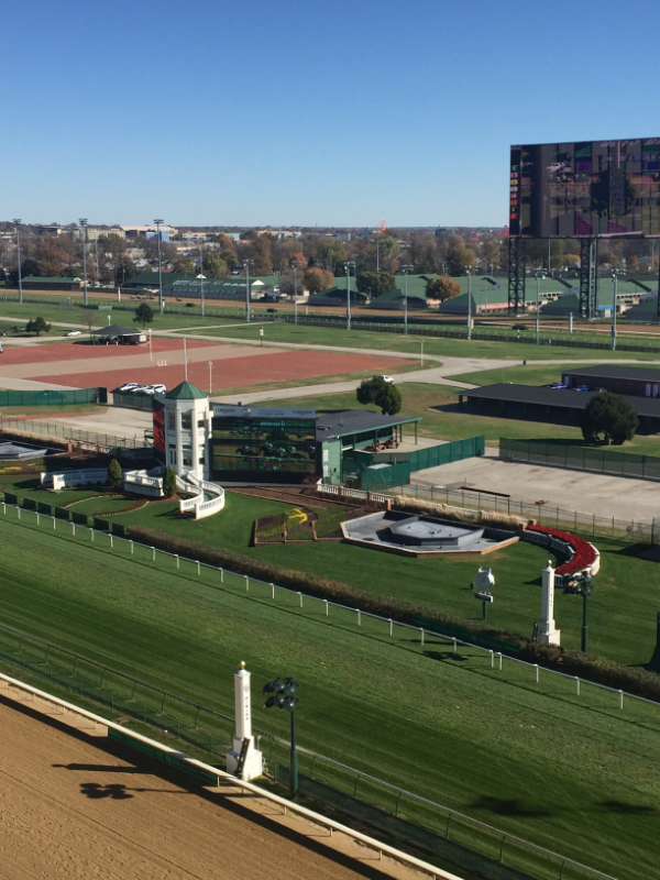 Churchill Downs from Millionaires Row; this angle provides a great view of the Backside.
