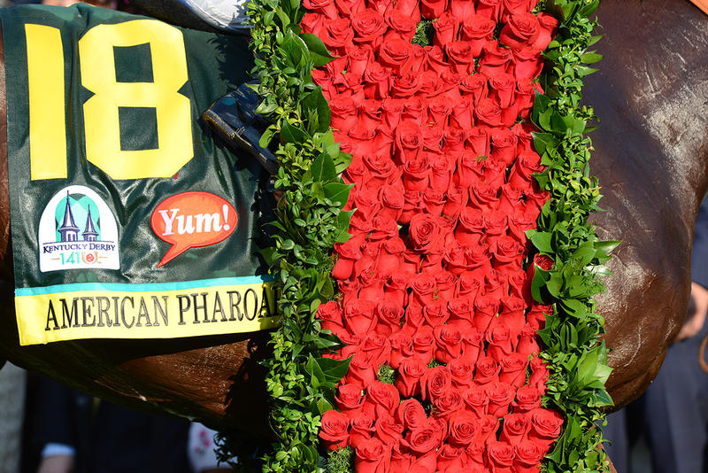 American Pharoah's Garland of Roses. Image via  Kentucky Derby .