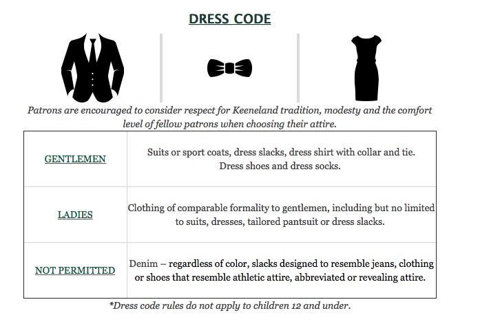 Lexington and Kentucky Dining Rooms Dress Code, via Keeneland.