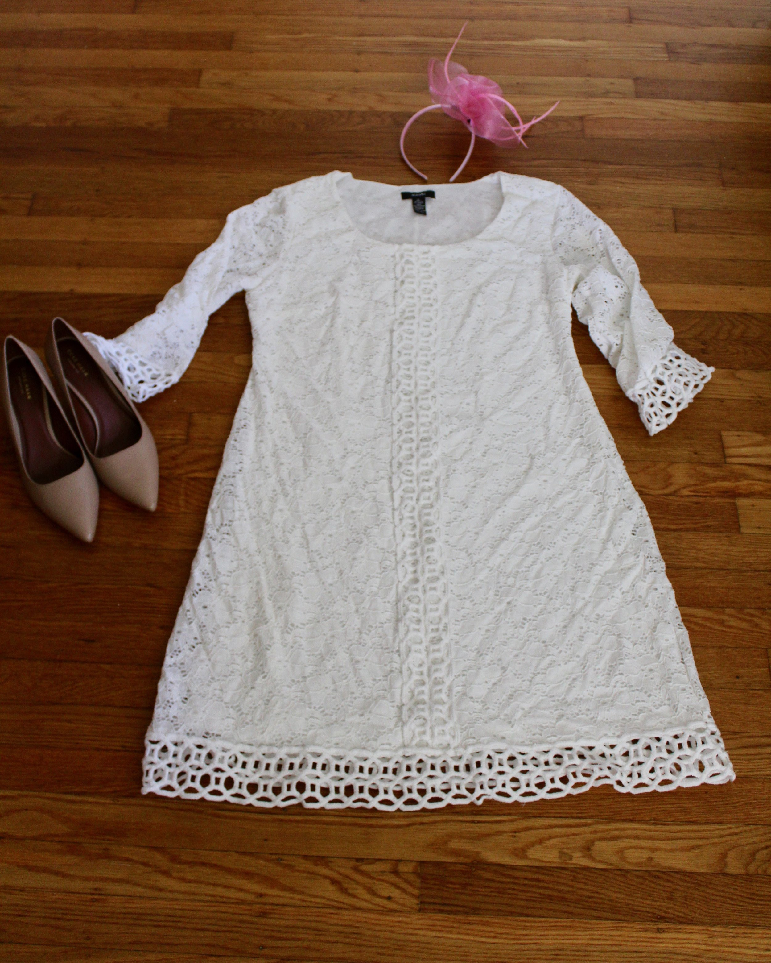 White Lace Dress | Cole Haan Shoes | Kentucky Derby Style