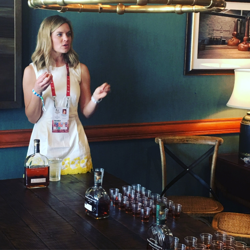 Elizabeth McCall leads a tasting of Woodford Reserve whiskeys