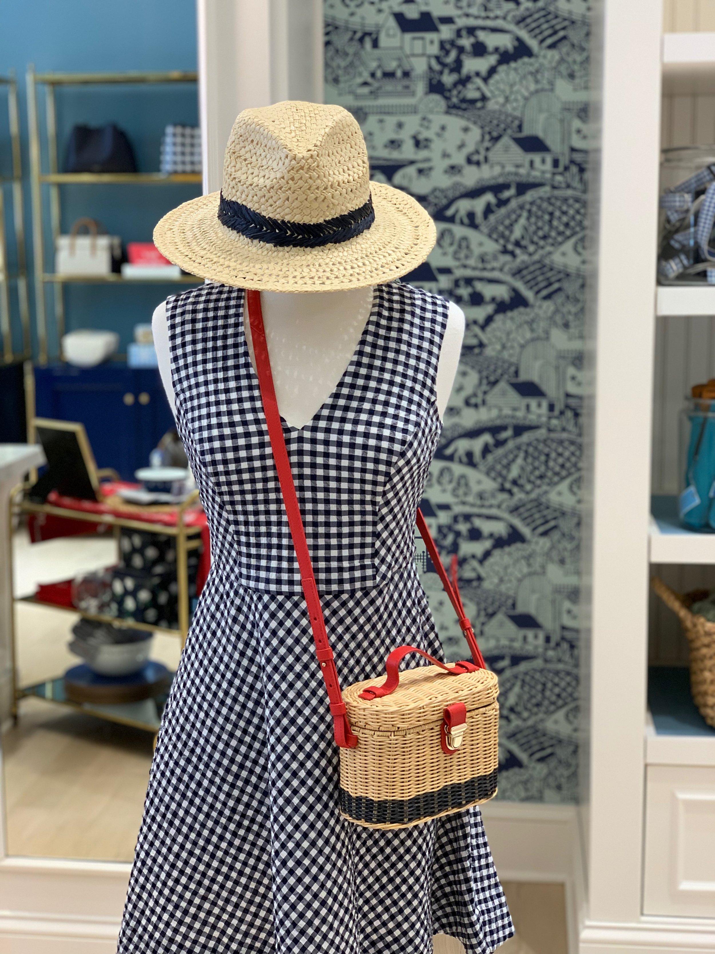 Gingham Love Circle Dress  |  Colorblock Wicker Bag  |  Straw Fedora