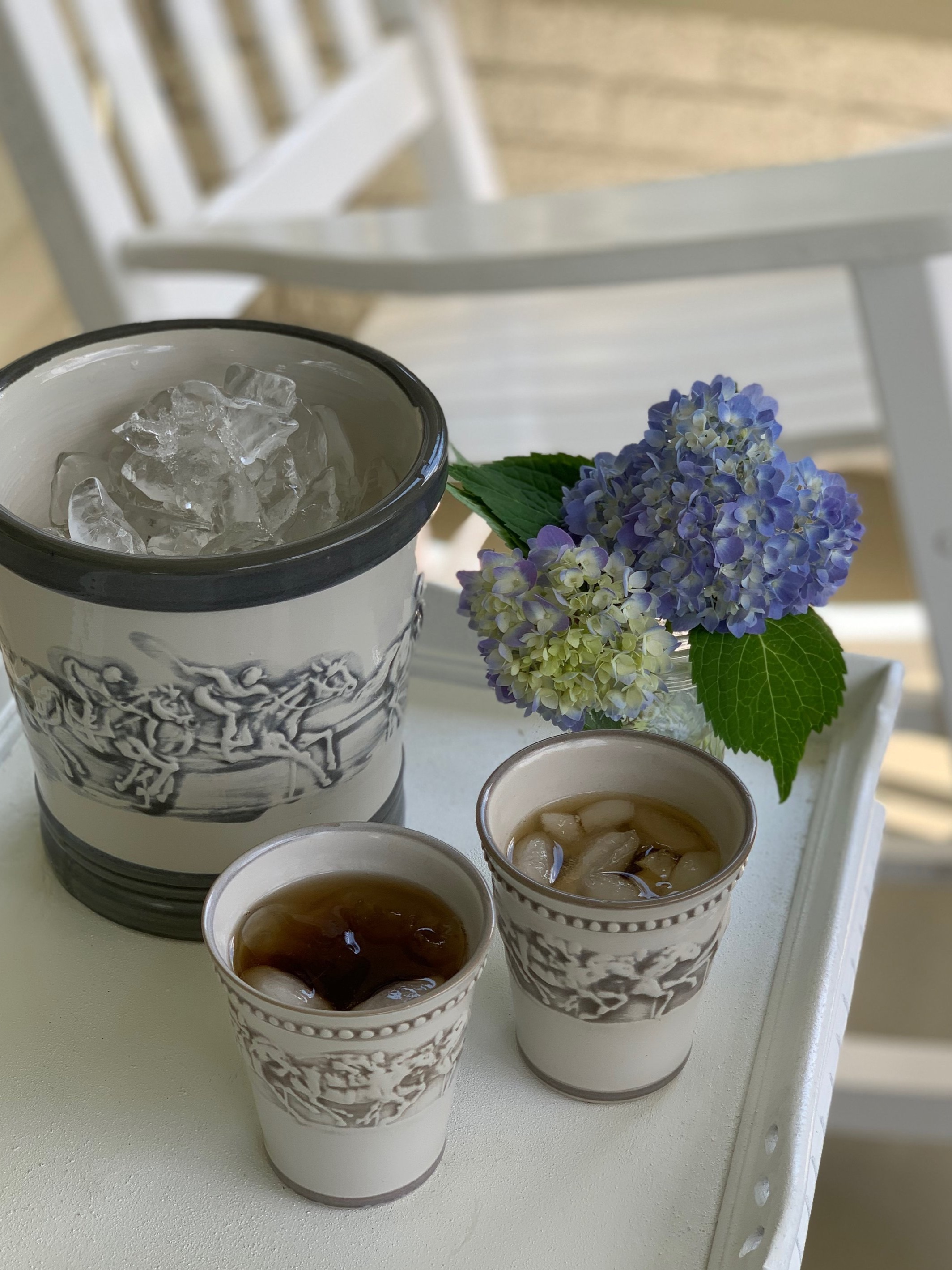 Stoneware & Co  Julep Cups  and  Ice Bucket  in Embossed Running Horse