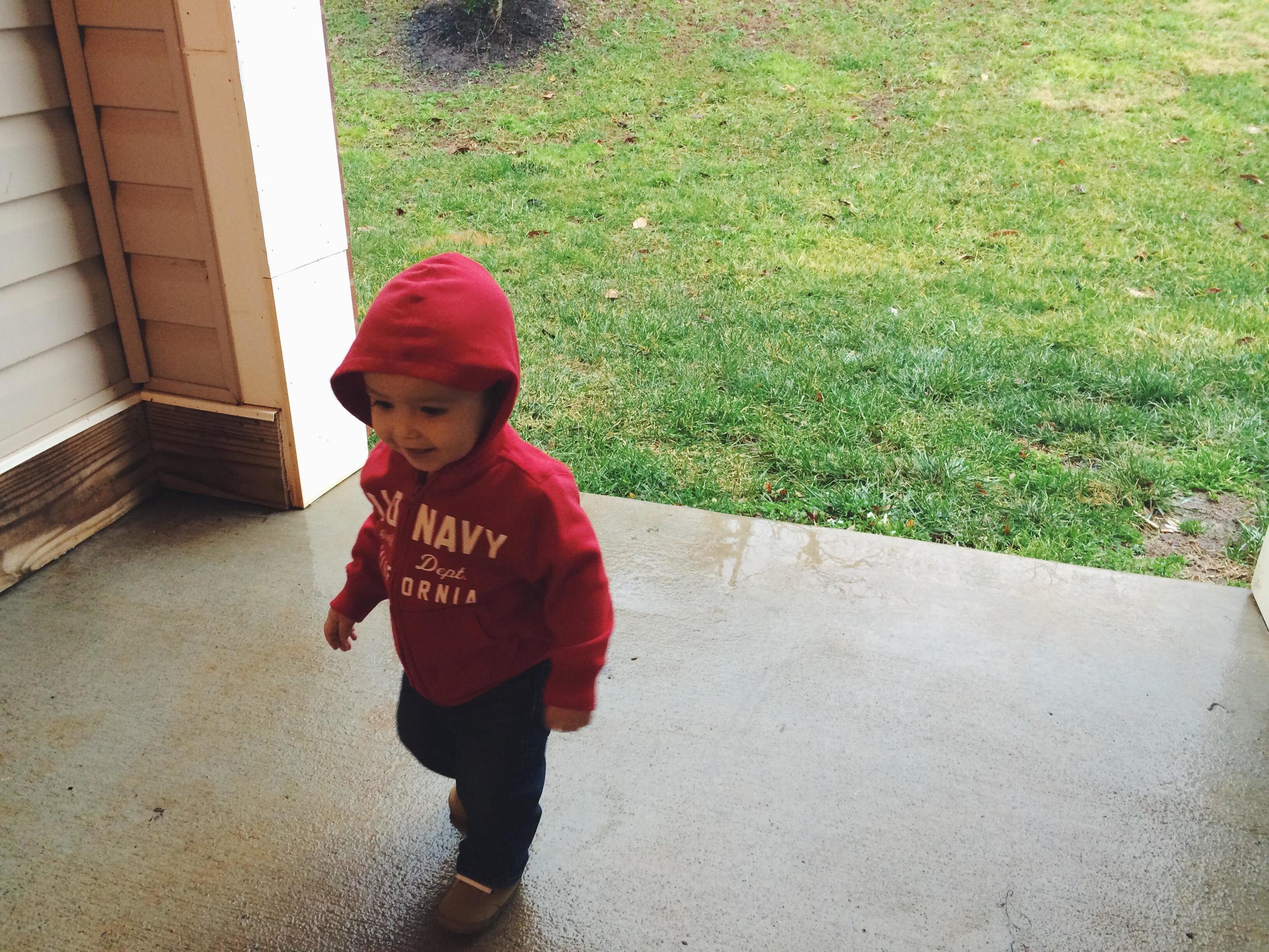Declan, enjoying the rain with me today.