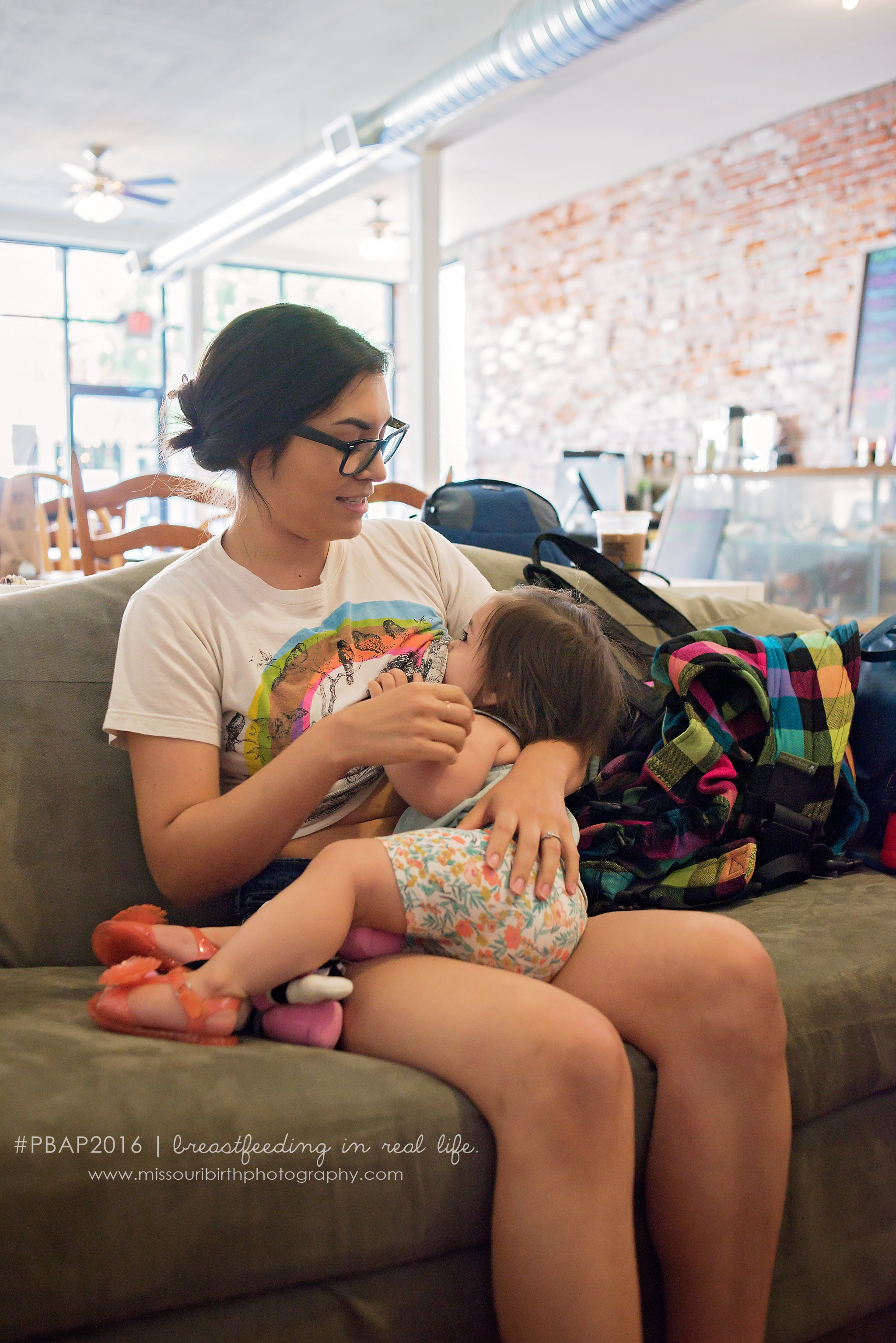 """""""No one should ever be afraid to breastfeed in public. If people don't see it it will never be normalized.""""      - Vanessa and Lana (1 year)"""