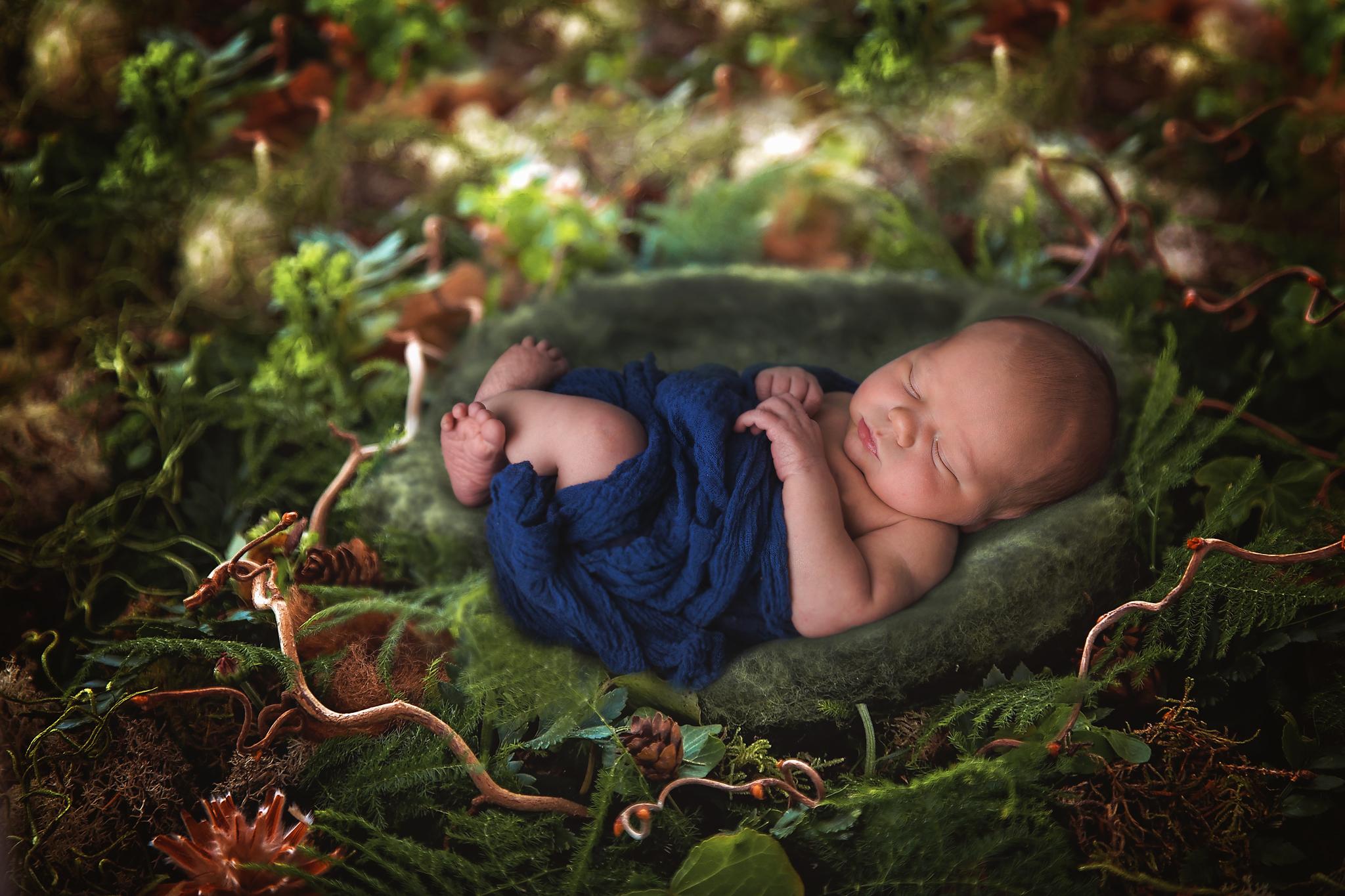 Newborn baby boy outdoors