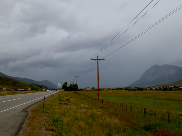 Our luck ran out again once we made it down to Taylor Reservoir. We rode in the rain all the way down the 16-mile canyon, and headed north for Crested Butte, only to be greeted by this.