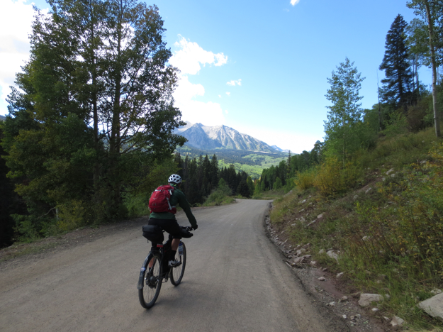 On the backside of Kebler Pass, yours truly rides towards the light...