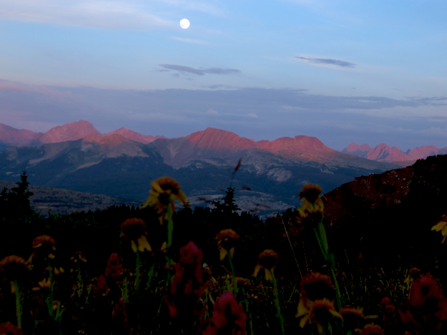 Sunset, alpenglow, & moonrise.  I rolled into Silverton at about 10pm with Danny and a couple other guys. Looking at the full moon, I was tempted to push for 32 hours with no sleep and get the next two slow, high sections over with. Then I heard that the leaders went through town six hours before us. At that point, 2013 became a tour for me - and I'm glad it did!